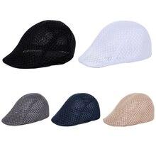 5bd98f01e8e Men Women Unisex Breathable Duck Mesh Newsboy Sun Flat Hats Casual Beret  Caps(China)