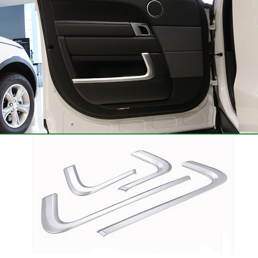 4pcs Chrome Interior Door Molding Trim For Land Rover Range Rover Sport 2014-2017 Accessories Car Styling 2pcs abs car interior accessories center control side strip cover trim for land rover lr4 discovery 4 2013 2016 car styling