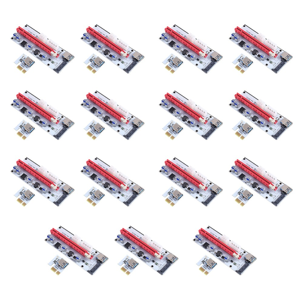 15pcs Riser Board Expansion Card PCI-E 1x to 16x Adapter Express Riser Card USB3.0 Data Cable Power Cable Kit for BTC Miner wbtuo lt109ns pci express to usb 3 0 card expansion card for desktop riser red