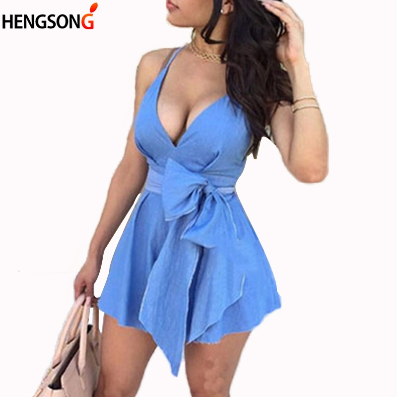 2018 New Summer Women Dress Sleeveless Sling Vestidos Fashion Women's Sexy Spaghetti Straps Deep V-neck Elegant Blue Denim Dress