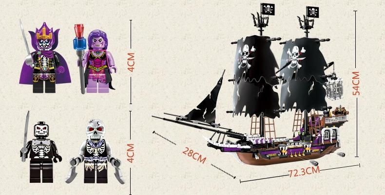 Éclairer bloc de construction bateau Pirate bateau noir général 5 figure 4 canons 1456 pièces (sans boîte d'emballage d'origine)-in Blocs from Jeux et loisirs    3