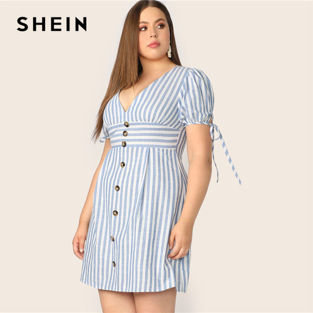 SHEIN Plus Size Blue Deep V Neck Button Front Tied Cuff Striped Dress Women 2019 Summer A Line Boho High Waist Plus Size Dress 1