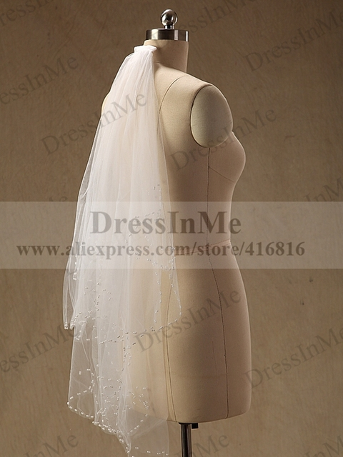 Ivory Two Layers Wedding Veil with Hand Beaded Pearls Bridal Veil with Comb