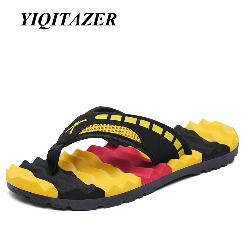 YIQITAZER 2017 New Fashion Casual Shoes Men Flip Flops Massage,Summer Cool Water Striped Slipon Mens Slippers Plus Size 44 45 rugged shark mens aquamesh3 water shoes