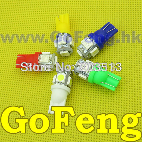 50pcs/lot Car led light W5W 194 T10 5SMD 5 led SMD 5050 Free shipping