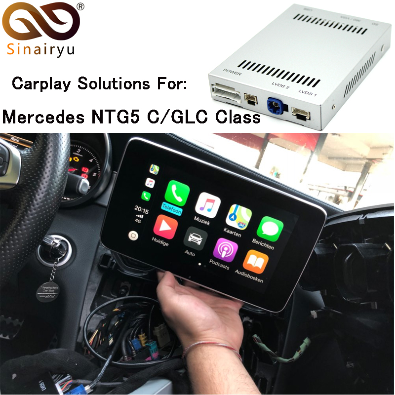 US $263 99 34% OFF|Aftermarket Mercedes NTG5 C Class W205 GLC W253 Smart  OEM Apple Carplay Android Auto Mirroring box Retrofit with Original Mic-in