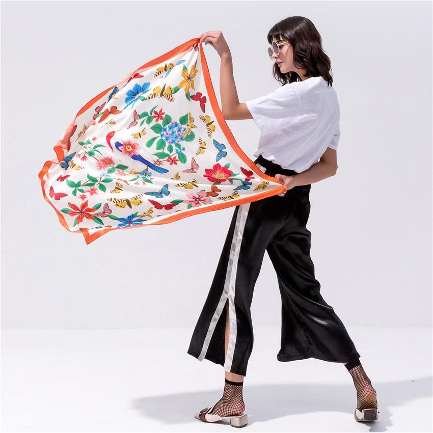 Silk Scarf for Women 90*90cm Square Scarf Female Hijab Floral Printed Shawl Genuine Natural 100% Silk Scarf Bandana Shawl Wrap silk