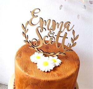 Image 2 - Персонализированные имена, Топпер для свадебного торта, деревянный деревенский Топпер для свадебного торта, акриловый Топпер для торта на заказ