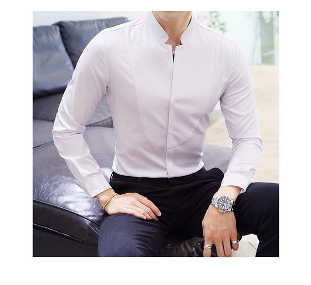 Fall Winter Stand Collar Mens Long-sleeved Dress Shirts Black Red White Slim Elegant Youth Male Business Wedding Formal Shirt 18
