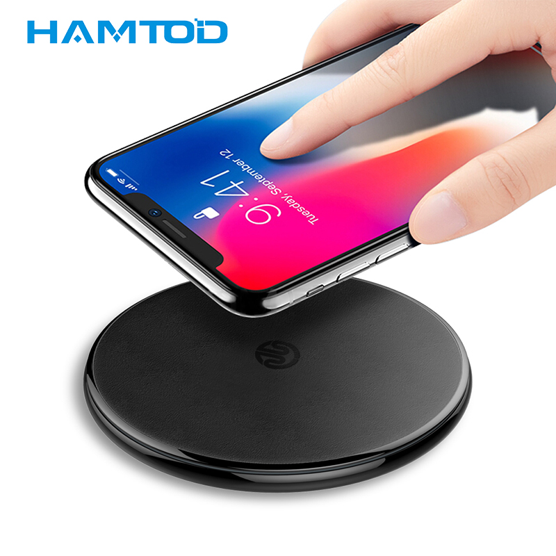 HAMTOD HFC180 leather fast Wireless Charger for Samsung s9 and mobile