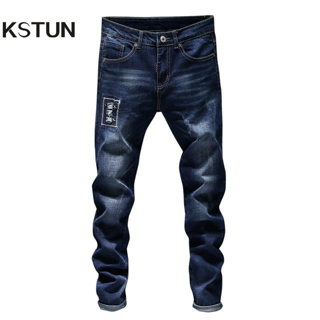21cf501a00 Pantalones vaqueros para hombre KSTUN 2018 Slim Fit rotos bolsillos Biker  Casual estudiantes pantalones Yong Man