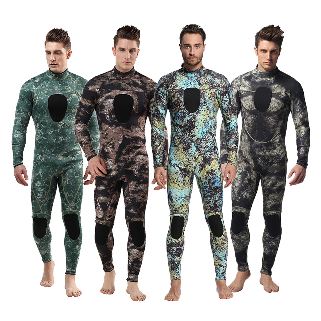 MEN Wetsuit 3MM Full Body Suit Super Stretch Diving Swim Surf Snorkeling Swimsuit Beachwear Long Sleeve Camouflage Multicolor