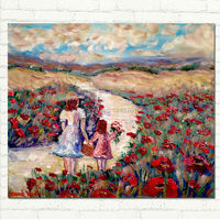 Oil Painting French Poppies Mother Child Girl Impasto Landscape Folk Hand Made Canvas Decoration Art