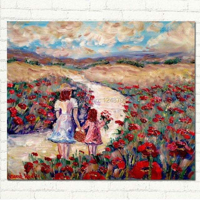 Peinture l 39 huile fran ais coquelicots m re enfant fille for Materiel peinture a l huile