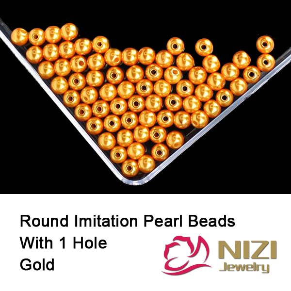 Фото Loose Resin Pearl Beads For DIY Jewelry Making 6mm 8mm 10mm Resin Round Gold Imitation Pearl Beads With Hole 100g/bag Many Sizes