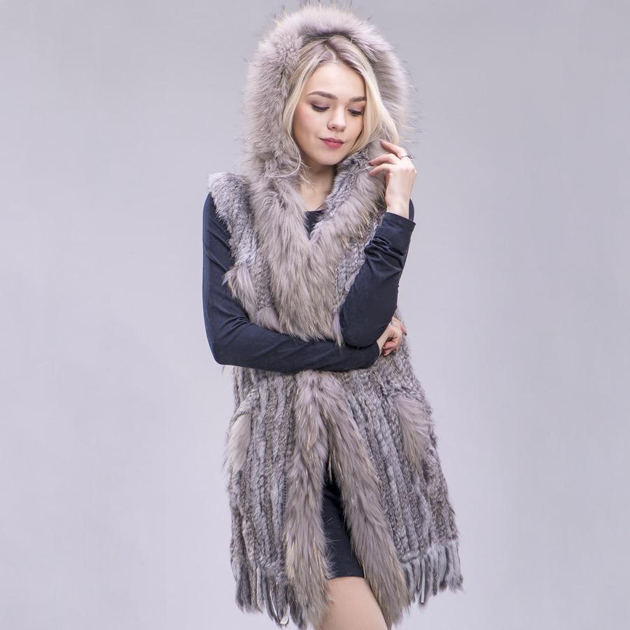 ZDFURS * 女性新しい本物のウサギの毛皮のベストファッションラクーン毛皮の襟ベストウォームナチュラル毛皮ロングジレ  グループ上の レディース衣服 からの 本物の毛皮 の中 1