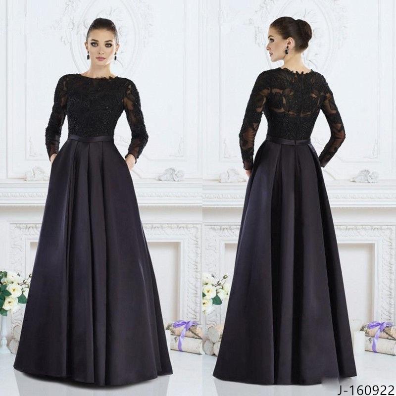 Black Groom Mother Dress Long Sleeve Lace Beads Zipper