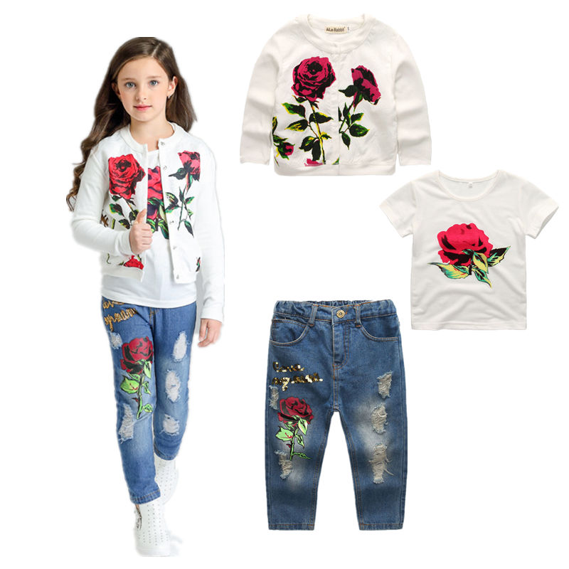 Baby Girls kids clothes spring and autumn fashion roses 3 sets of children's clothing 2017 new girl tracksuits costume kids jack