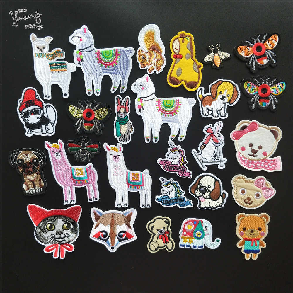 Mix Hot melt adhesive patches Cartoon Animal Embroidery patch Sheep Unicorn Dog stickers Iron on Stripes DIY Clothing Accessory