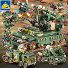 643pcs Military Series 4in1 Trucks Car Tank missiles Building Blocks Compatible city Firefighter children Toys