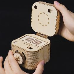 Robud Meccanico di Costruzione di Modello Kit FAI DA TE 3D Puzzle Di Legno Scatola del Tesoro Modello Regalo del Giocattolo per I Ragazzi e Le Ragazze LK502 per dropshipping