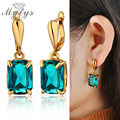 Mytys Fashion  Gold Plated Prong Setting Crystal Medium Turquoise Women Earrings 2016 New Arrival CE147