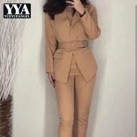Qualities Spring Fashion Slim Fit Women Suits Set 2 piece Long Sleeve Lapel Sashes Blazer Ankle Length Suits Pants Office Ladies