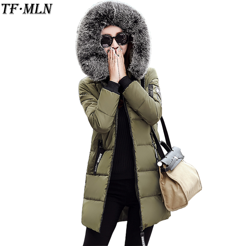 Warm Big Fur Hooded Quilted Coat Winter Jacket Woman 2017 Fashion Solid Color Zipper Down Cotton Parka Plus Size Slim Outwear