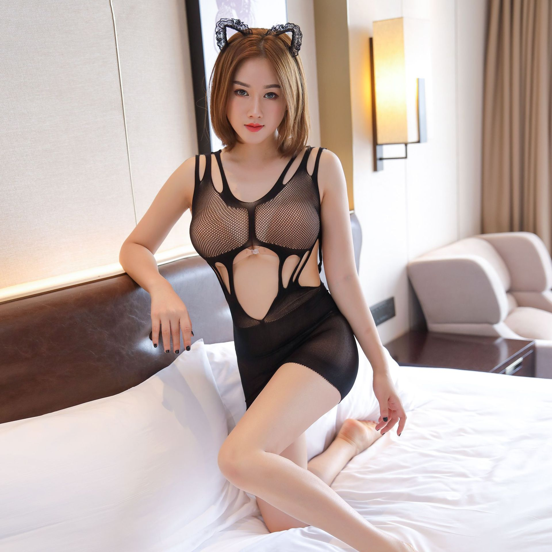 Exotic Apparel New Sexy Short Skirt Sexy Lingerie High Elastic Tight Hollow Mesh Erotic Net Dress Perspective Sling Dresses Porno Night Gown Fragrant Aroma