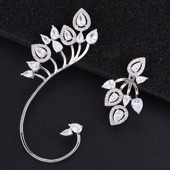 Missvikki pendientes de tuerca exquisitos asimétricos hermosos pendientes claros CZ joyería para mujer regalo de marca de lujo de alta calidad