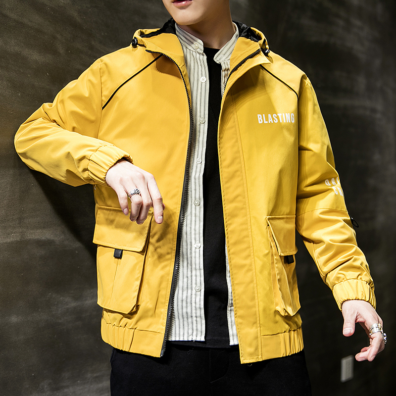 b2241e6b46b1 Mens Fashion Yellow Jacket 2019 Spring Autumn Casual Solid Ma 1 Zipper Bomber  Jackets Overcoat Baseball Mens Thin Pilot Jackets