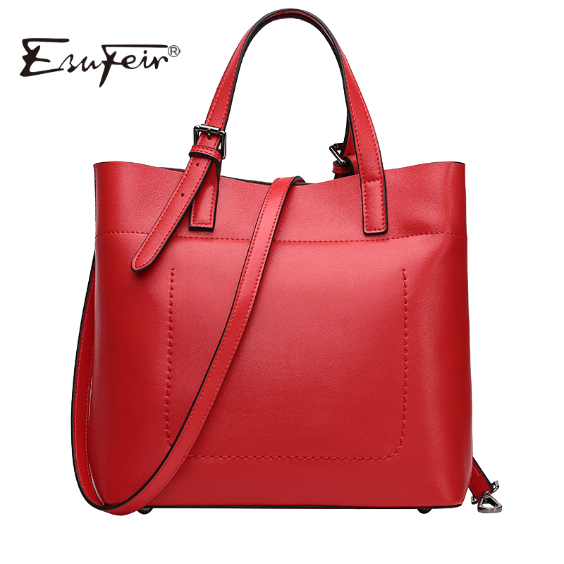 New 2018 ESUFEIR Brand Genuine Leather Casual Tote Fashion Women Handbag Soft Leather Shoulder Bag Famous Brand Designer Handbag new 2017 fashion brand genuine leather women handbag europe and america oil wax leather shoulder bag casual women