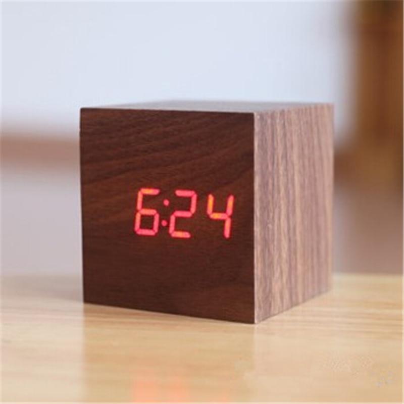 Mini mignonne Led réveil en bois Réveil lumière horloge externe - Décor à la maison - Photo 6