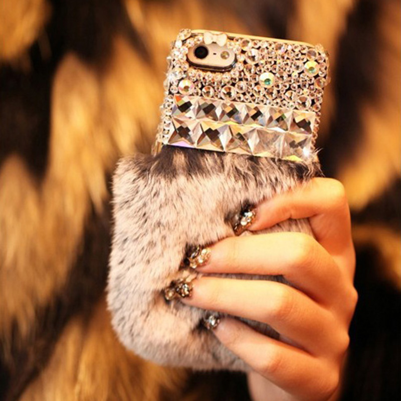 Luxury Real Rex Rabbit Fur Hair Diamond Crystal coque Case Sony Xperia E5 A2 M5 M2 C4 C5 M4 X XA performance Carcasa Funda  -  MagicBuying store