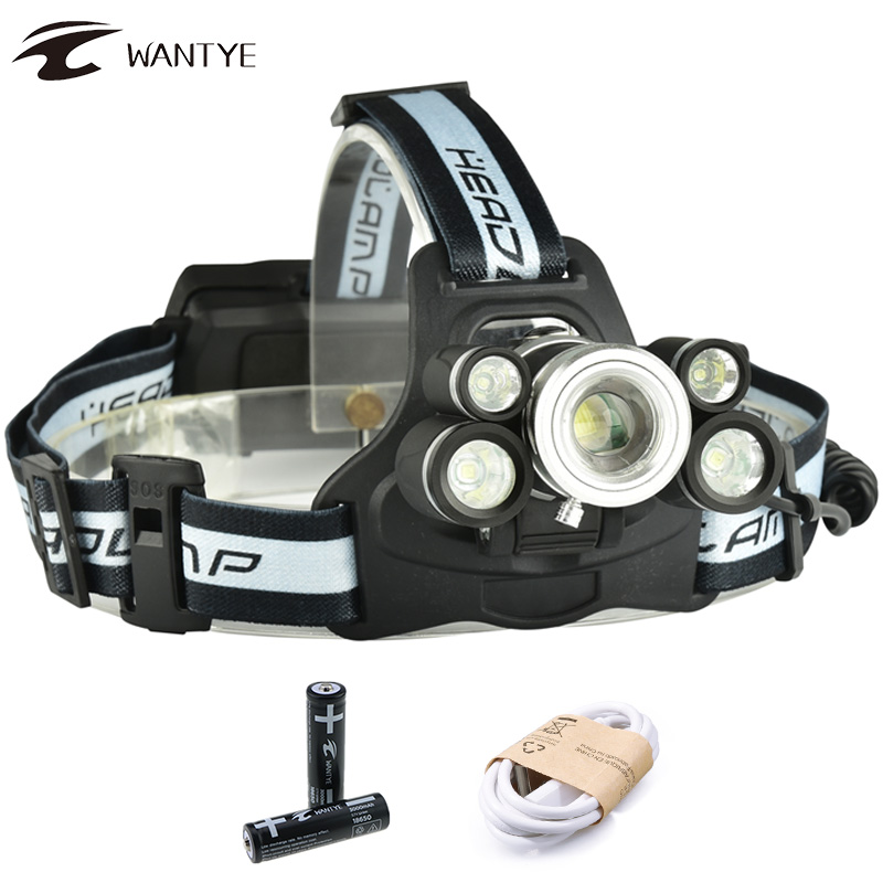 15000LM 3T6+2XPE USB Rechargeable Headlamp LED Zoomable Headlight 18650 Head flashlight zoom 5 modes Camping Head light
