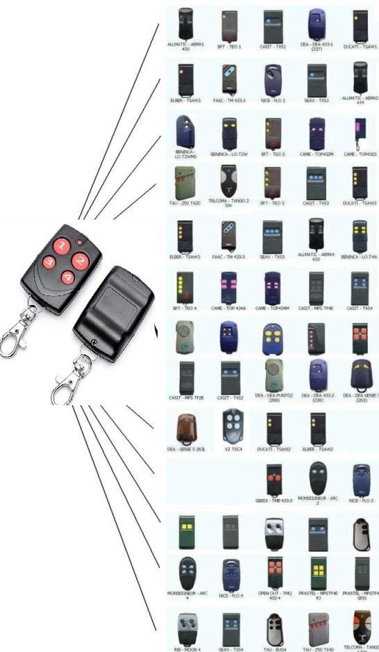 Duplicador de controle remoto para Veio, NiceFlo, V2 Phoenix, TAU, COSTELA, DASPY keyfob transmissor Substituição só código fixo 433,92Mhz