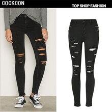 COCKCON 2017 весна высокой талией джинсы женщин плюс размер узкие брюки джинсовые женские отверстия черные джинсы разорвал брюки TOP216
