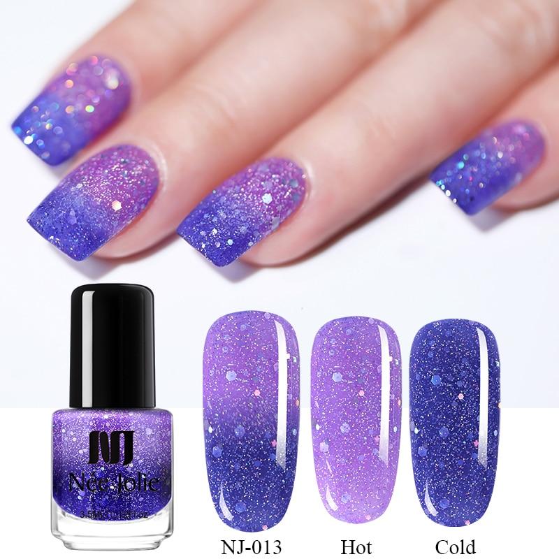 NEE JOLIE 7.5ml Temperature Purple Color Changing Thermal Nail Polish  Glitter Nail Art Varnish