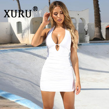 XURU Summer New Womens Dress Sexy Backless Cutout White Red Light Blue Black