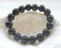 Beautiful 8 12mm Round Black Onyx Bracelet Noble Style Natural Fine Jewe SHIPPING 6 02