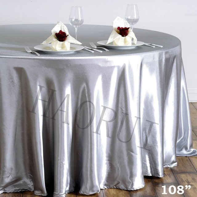 10pcs Customized Silver 108u0027u0027Round Dining Tablecloth Satin Table Cloth For  Weddings Party Decoration