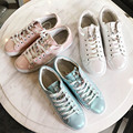 2017 new spring Genuine Leather Shoes Women rhinestone sneaker Round Toe Handmade female Casual Shoes brand skin lady pink