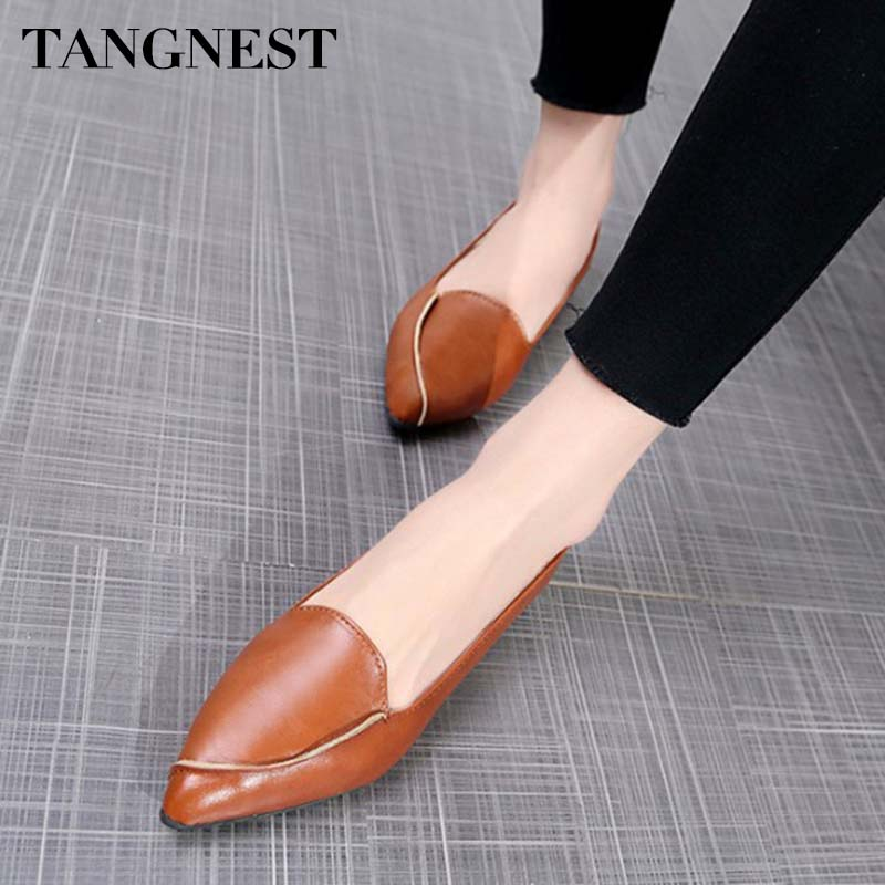 TANGNEST 2019 Spring Women Fashion Flats Shallow Women Shoes Pointed Toe Solid Causal Slip on Rubber Mujer Footwear XWD7338TANGNEST 2019 Spring Women Fashion Flats Shallow Women Shoes Pointed Toe Solid Causal Slip on Rubber Mujer Footwear XWD7338