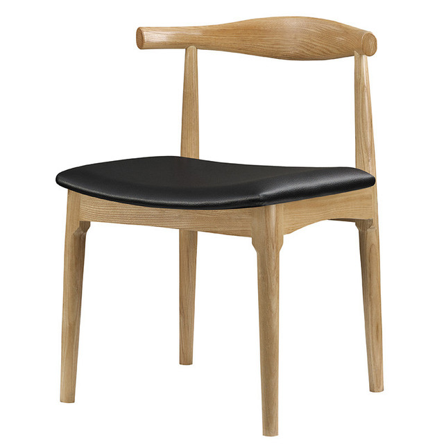 Hans Wegner Style Elbow Dining Chair With Real Leather Seat Cushion Solid  Ash Wood Dining Room