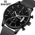 SWISH 2019 üst marka lüks erkek saatler su geçirmez paslanmaz çelik kol saati erkek Chronograph günlük kuvars saat