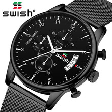 SWISH 2019 Top Brand Luxury Mens Watches Waterproof Stainless Steel Wristwatch Chronograph Casual Quartz Watch