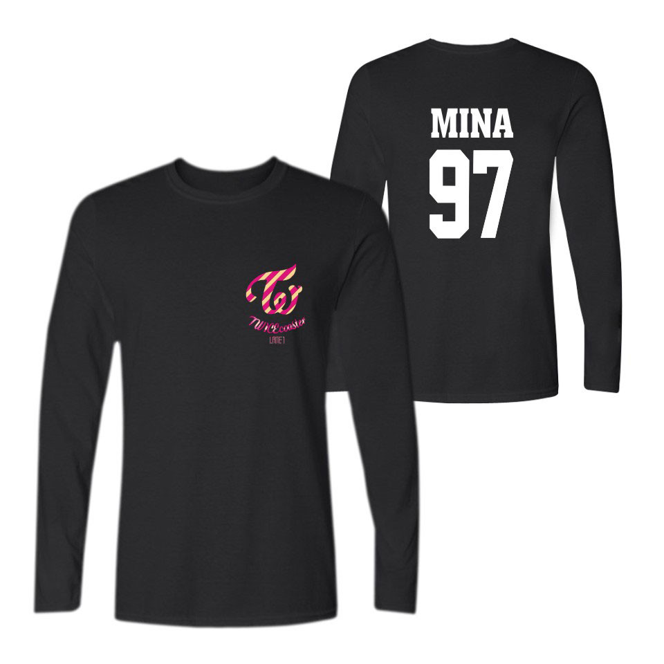2017 twice member name printed t shirts long sleeve t for Brand name long sleeve t shirt