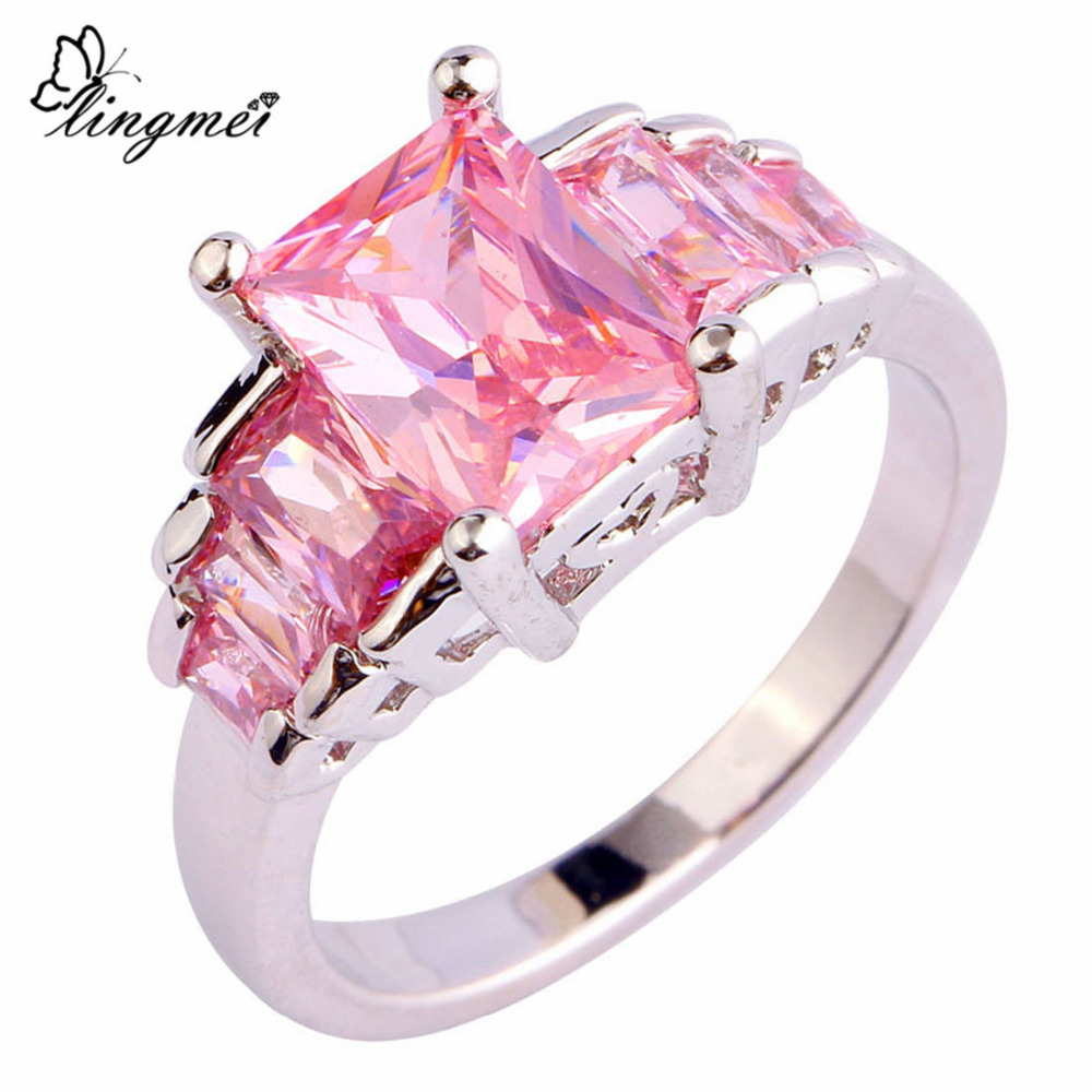 ②lingmei Wholesale Lady\'s Fashion Pink CZ AAA Silver Color Ring ...