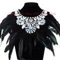 Luxury Fashion Jewelry Big Feather Shiny Crystal Statement Bib Necklace Charm