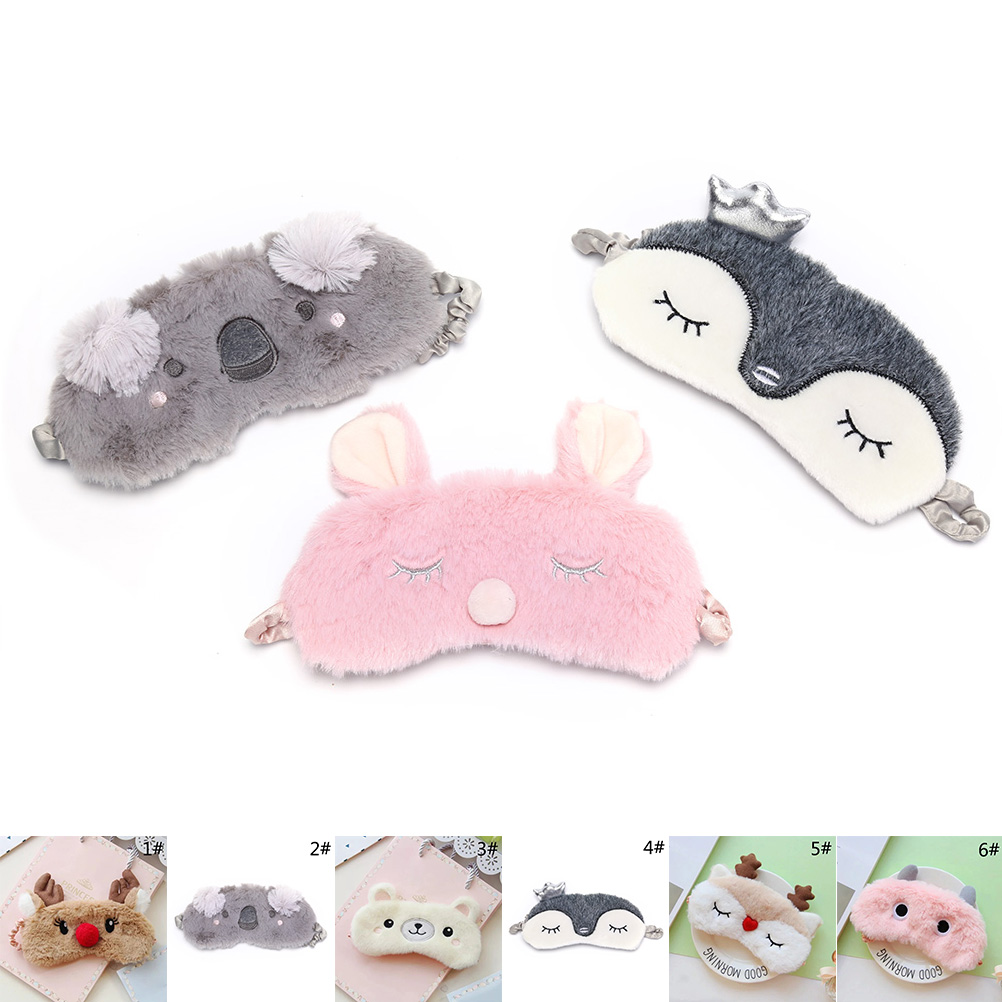 Fashion Cute Cut Koala/bunny Sleeping Eye Mask Nap Cartoon Plush Eye Shade Sleep Mask Black Mask Bandage on Eyes for Sleeping crown plush eye mask